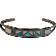Native American Sterling Silver - Turquoise - Mother of Pearl Inlay Cuff Bracelet