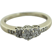 10K White & Yellow Gold Past/Present/Future Diamond Cluster (.25ctw) Engagement Ring in Size 6