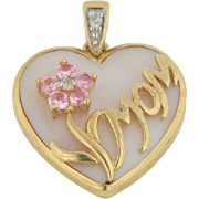 10kt Yellow Gold Pink Mother of Pearl Mom Heart Pendant with Pink CZ's and Diamonds