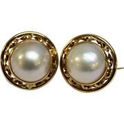 Large 14K Yellow Gold & Mabe Pearl Pierced Earrings - Omega Backs - Twisted Openwork