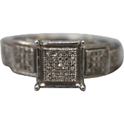 Sterling Silver Tier Ring with Clear Stones - Size 7