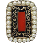 Antique Georgian 10K Yellow Gold-Red Coral-Seed Pearls-Black Enamel Ring-Inscribed 1825 Date & Name-Size 4.5