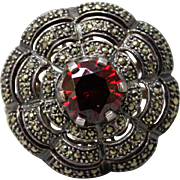 Unique Sterling Silver 925-Marcasite-Red Glass Dimensional Dome Ring-Size 5.5