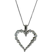 """14kt White Gold Box Link Necklace with Diamond Heart Pendant - 18"""""""