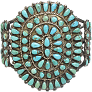Old Pawn Native American Navajo Needlepoint Sterling Silver & Blue/Green Turquoise Cuff Bracelet
