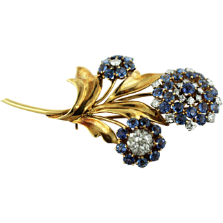 "Vintage 14K Yellow Gold-Diamond-Bluish/Purple Amethyst 2 1/4"" Flower Pin-160 Mark"