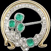 Stunning Emerald (2CT) - Diamond (1.52CT) - Platinum - 18K Yellow Gold Brooch Pin - ER Hallmark