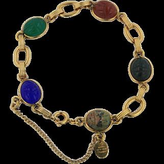 "Burt Cassell 12kt Gold Filled Scarab Bracelet - 7 3/4"""