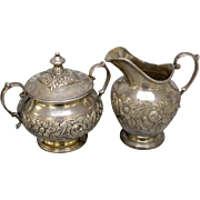 Vintage S Kirk & Son Sterling Silver Repousse Chased Sugar w/Lid & Creamer Set - Marked 621F