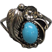 Native American Sterling Silver Feather Flower & Turquoise Ring - Size 8.5