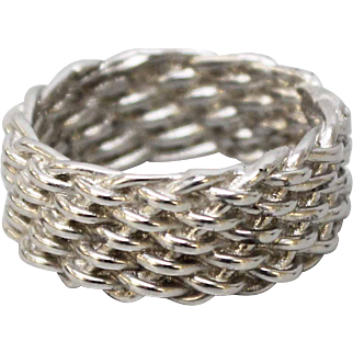 """Heavy & Solid Men's Basket Weave Platinum 3/8"""" Wide Band Ring in Size 11 - Weighs 24.1 grams"""