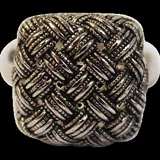 Vintage Designer Judith Jack (JJ Hallmark) Sterling Silver Ring with Detailed Basketweave Design - Size 7