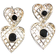 Sterling Silver Double Heart Dangle Earrings with Onyx Stones