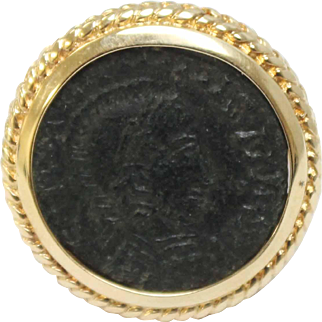 Ancient Bronze Coin & 14K Yellow Gold Ring - Size 5 3/4 - H Hallmark
