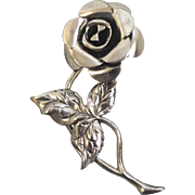"""Nicely Detailed Beau Sterling Silver Single Rose Flower 2"""" Pin"""