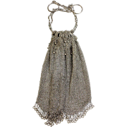 "Antique/Beautiful Sterling Silver Chainmail Drawstring 6 3/4"" x 5"" Bag Purse - IID Hallmark"