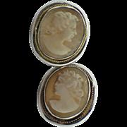 Beautiful Antique Pale Pink/Cream Cameo Pierced Earrings - Latch Back - 800 Silver Hallmark