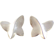 Sterling Silver .925 Butterfly Study Earrings Satin Finish For Pierced Ears