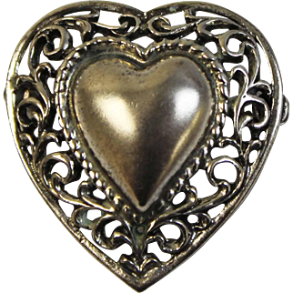 """Vintage Danecraft Sterling Silver 1"""" Heart Love Pin with Matte Finish & Open Scroll Work Design"""