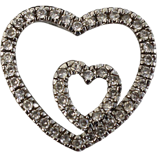 Sterling Silver Double Heart Pendant with White Stones