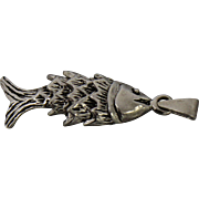 Sterling Silver Layered Fish Charm Pendant