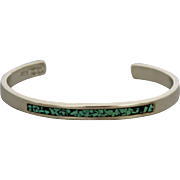 Sterling Silver Cuff Bangle Bracelet with Turquoise Inlay