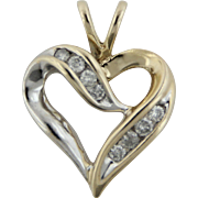 10kt Two-Tone White/Yellow Gold Heart Pendant with .2ctw Diamonds