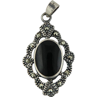 Sterling Silver Onyx and Marcasite Marquise Style Pendant