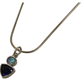 """Sterling Silver 16"""" Snake Link Chain with Round Opal and Triangle Blue Stone Pendant"""