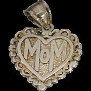 Sterling Silver Small Mom Heart Pendant