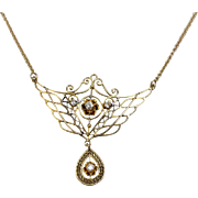 """14K Yellow Gold Ornate Chandelier Plate Chain Link Necklace with Flowers and .2CTW Diamonds- 16"""""""