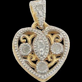10kt Yellow Gold .1ctw Diamond Small Heart Charm