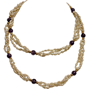 """28.5"""" Triple Strand Freshwater Pearl Necklace With 14k Yellow Gold Clasp"""