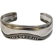 Sterling Silver 925 Women's Satin Finish Cuff Bracelet with Swirl-Rope-Bead Accents