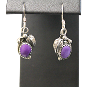 Sterling Silver Feather Dangle Earrings with Oval Purple Stone