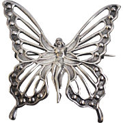 Vintage 1970's Sterling Silver 925 Fairy Butterfly Openwork Pin from Lang