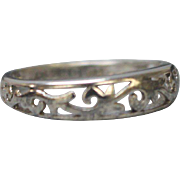 Sterling Silver Swirl Design Band - Size 8