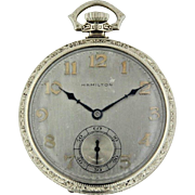 """1927 Hamilton 12s 19 Jewel 14K White Gold """"To Mother"""" Pocket Watch with Subdial"""
