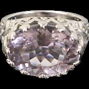 Oval Purple Crystal & Sterling Silver Filigree Ring - Modern Design by TGGC - Size 7