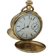 1888 Hampden Watch Co 6s 11 Jewel 14Kt Lever Set Hunter's Case Pocket Watch