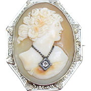 14kt White Gold Orange Shell Cameo Pin with Necklace Accent and Diamond