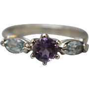 Sterling Silver Ring With Blue and Purple Stones - Size 6