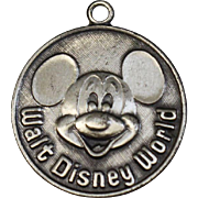 Sterling Silver Round Mickey Mouse Charm Pendant Walt Disney World