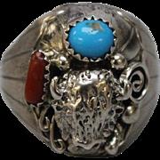 Dwayne Lomayestewa DL Hopi 925 Silver - Turquoise - Coral Buffalo Bison Men's Ring in Size 11.5