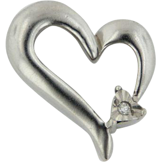 Sterling Silver Heart Shaped Slide Pendant with one small Diamond