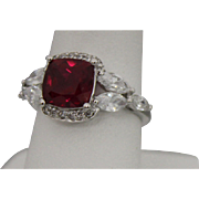 Sterling Silver Ring With Red Stone, 6 Marquise CZ's and 12 Small Round CZ's - Size 6.75