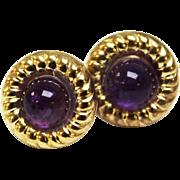 Sweet Delicate Pair of 14K Yellow Gold & Purple Amethyst Pierced Earrings