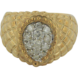 10kt Yellow Gold Woven Band Pear Shaped Diamond Cluster Ring - Size 7