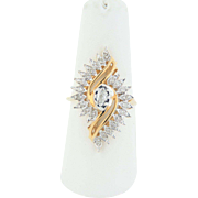 Big & Bold 10K Two Tone Yellow & White Gold Diamond Cluster Cocktail Ring - Size 6 3/4