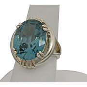 Sterling Silver Large Statement Ring With Blue/Green Stone - Size 7